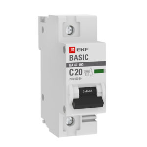 Автоматический выключатель 1P  20А (C) 10kA ВА 47-100 EKF Basic