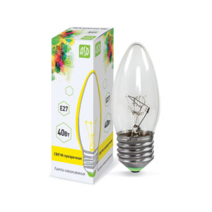Лампа накаливания СВЕЧА B35 40Вт 230В Е27 прозрачная 380Лм ASD