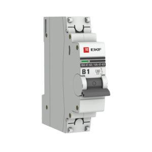 Автоматический выключатель 1P  1А (В) 4,5kA ВА 47-63 EKF PROxima