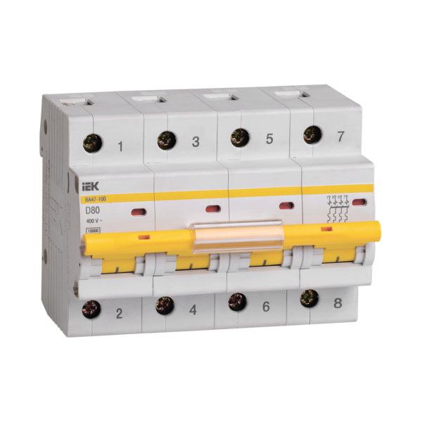 Выключатель автоматический ВА47-100 4Р 80А 10кА D IEK