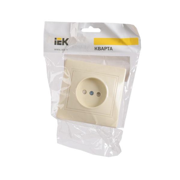 Розетка 1-местная РСш10-2-ККм без заземляющего контакта с защитной шторкой 10А КВАРТА кремовый IEK