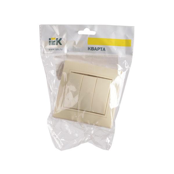 Выключатель 3-клавишный ВС10-3-0-ККм 10А КВАРТА кремовый IEK