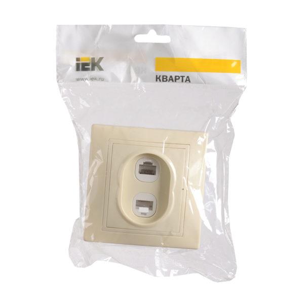 Розетка 2-местная компьютерная и телефонная РК/Т12-ККм КВАРТА кремовый IEK