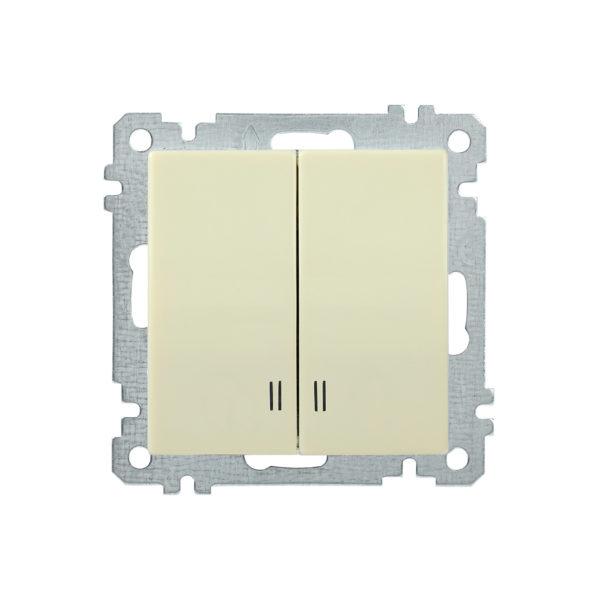Выключатель 2-клавишный с индикацией ВС10-2-1-Б 10А BOLERO кремовый IEK