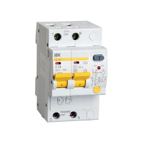 Дифференциальный автоматический выключатель АД12М 2Р С16 30мА IEK