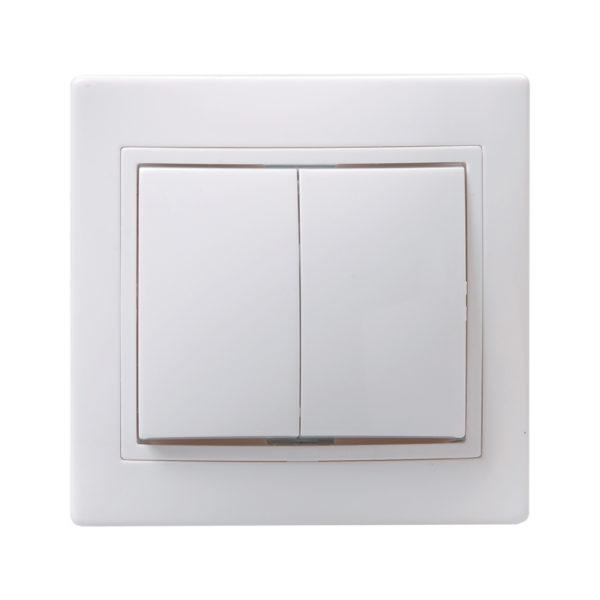 Выключатель 2-клавишный ВС10-2-0-КБ 10А керамика КВАРТА белый IEK