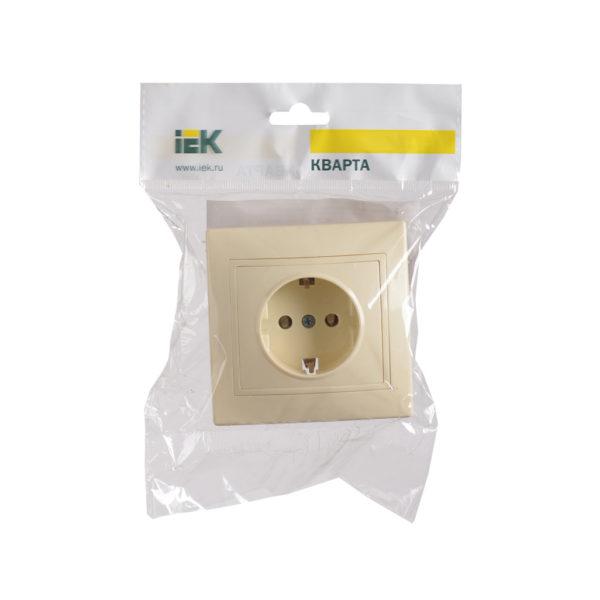 Розетка 1-местная РС10-3-Км с заземляющим контактом без защитной шторки 16А керамика КВАРТА кремовый IEK