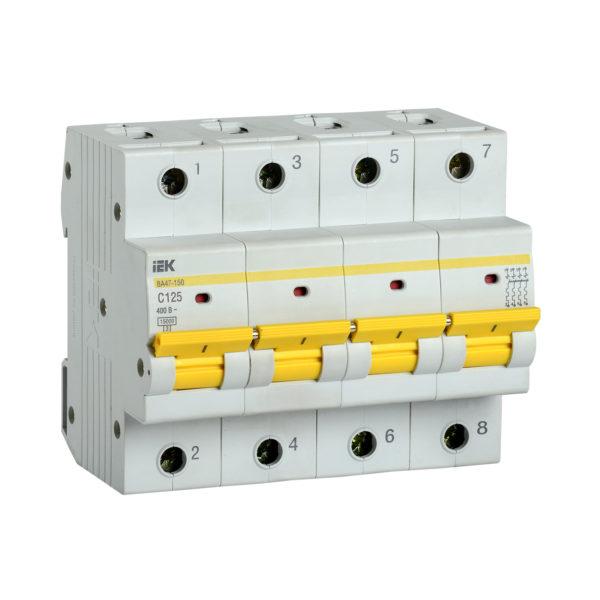 Выключатель автоматический ВА47-150 4Р 125А 15кА C IEK