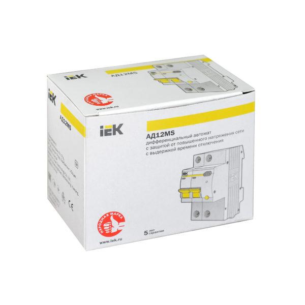 Дифференциальный автоматический выключатель АД12MS 2Р 50А 300мА IEK