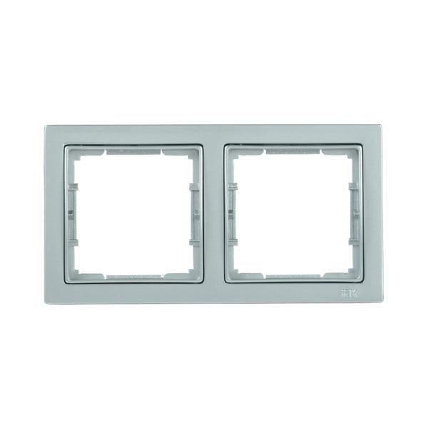Рамка 2-местная квадратная РУ-2-БС BOLERO Q1 серебряный IEK