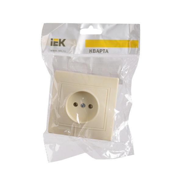 Розетка 1-местная РС10-2-Км без заземляющего контакта без защитной шторки 10А керамика КВАРТА кремовый IEK
