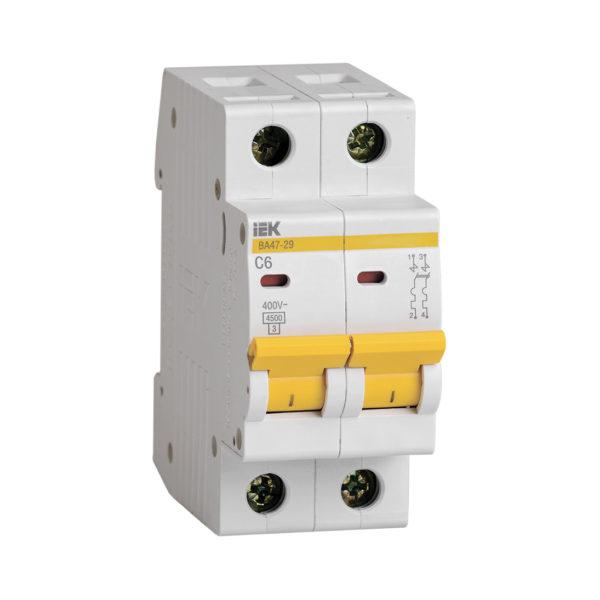 Выключатель автоматический ВА47-29 2Р 6А 4,5кА С IEK