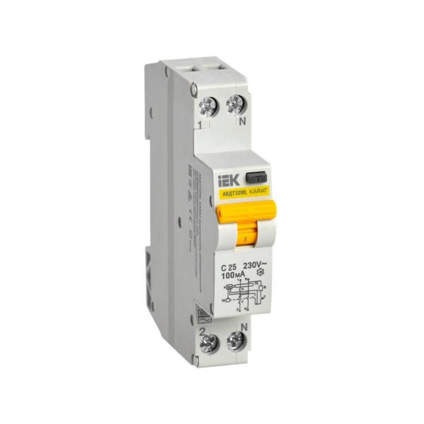 Выключатель автоматический дифференциального тока АВДТ32МL C25 100мА KARAT IEK