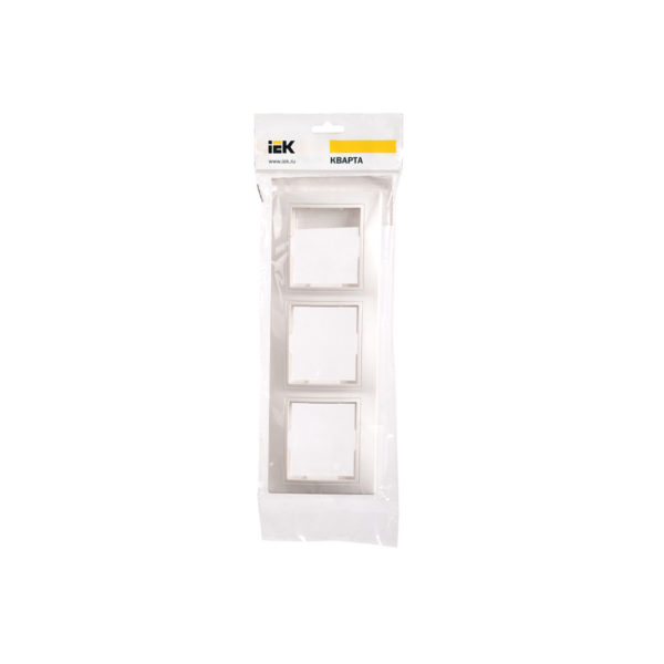 Рамка 3-местная вертикальная РВ-3-КБ КВАРТА белый IEK