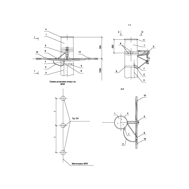 Опора Пд151 деревянная промежуточная одноцепная IEK