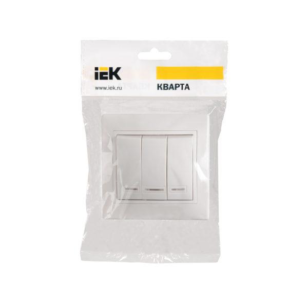Выключатель 3-клавишный с индикацией ВС10-3-1-КБ 10А КВАРТА белый IEK