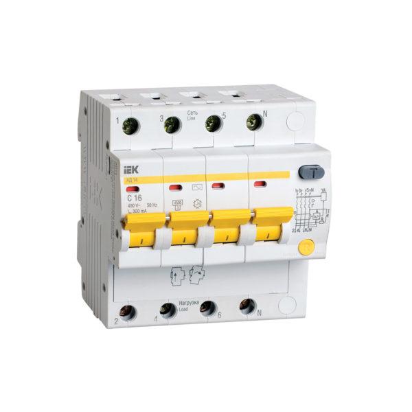 Дифференциальный автоматический выключатель АД14 4Р 16А 300мА IEK
