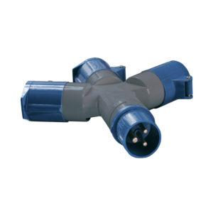 Адаптер трехлучевой ССИ-1013 2P+PE 16А 200-250В IP44 IEK