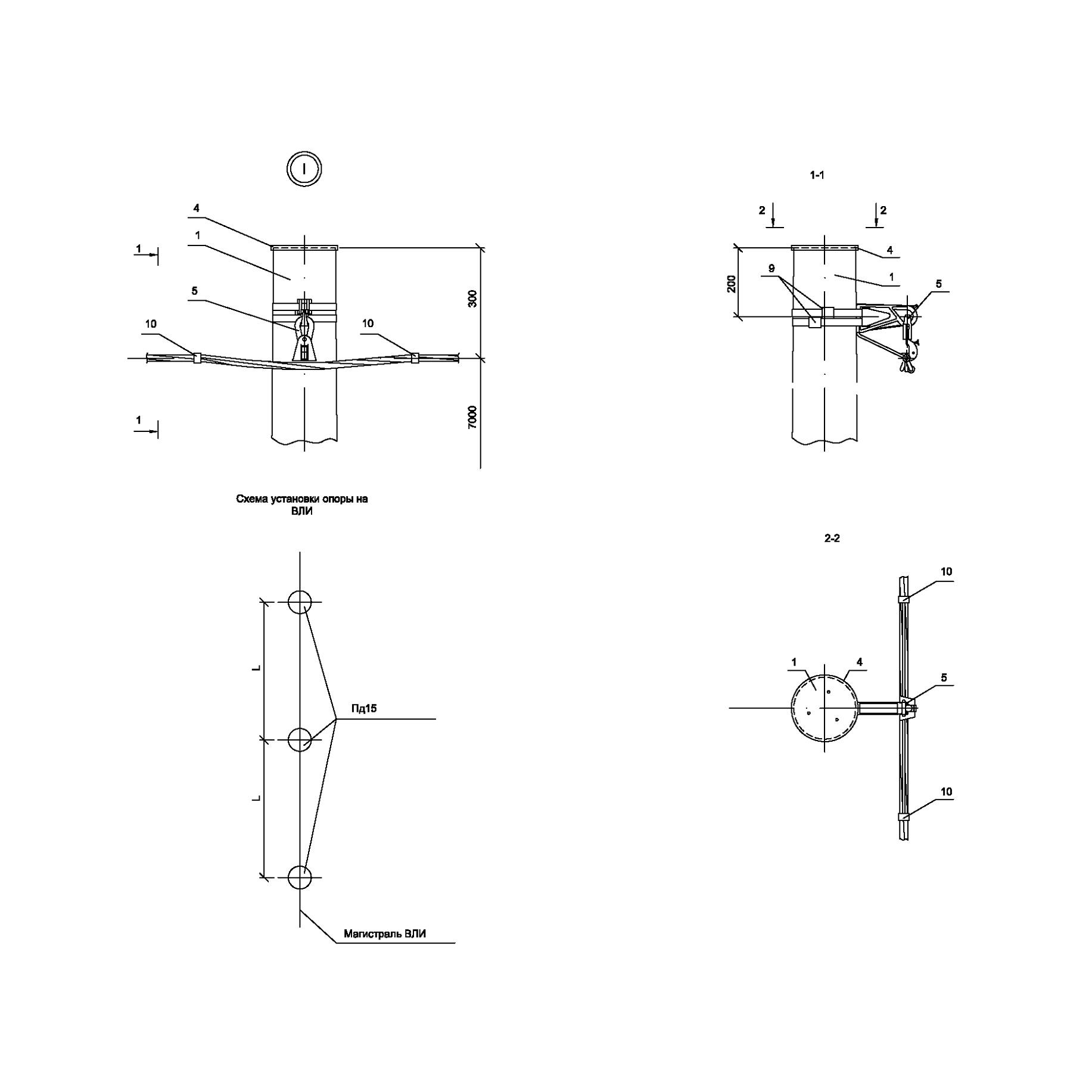 Опора Пд15 деревянная промежуточная одноцепная IEK