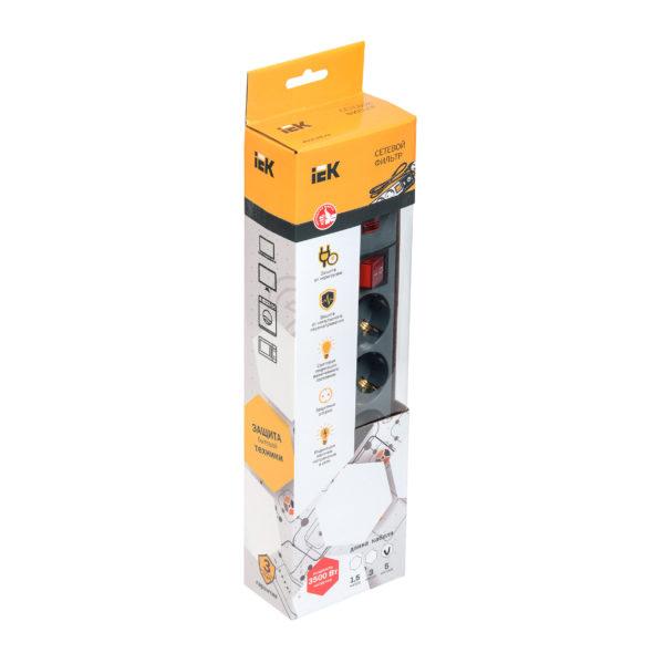 Сетевой фильтр СФ-05К-выкл. 5 мест 2Р+PЕ/3метра 3х1мм2 16А серый IEK