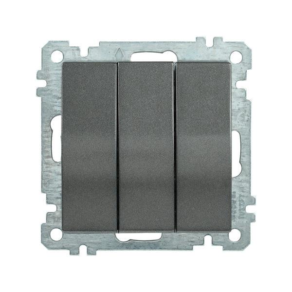 Выключатель 3-клавишный ВС10-3-0-Б 10А BOLERO антрацит IEK
