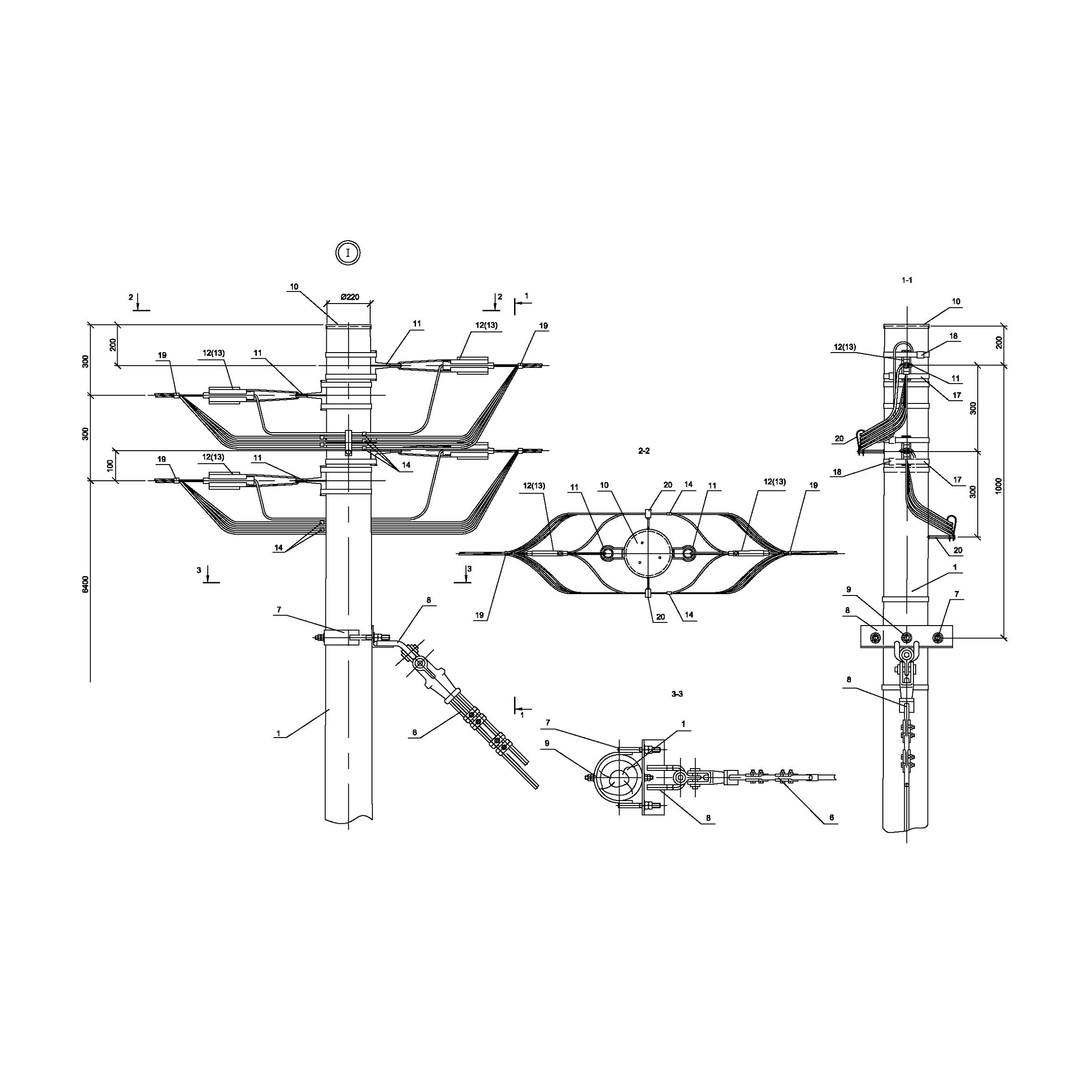 Опора Кд16 деревянная концевая двухцепная IEK