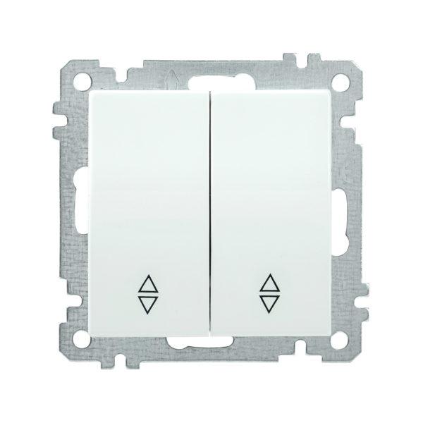 Выключатель 2-клавишный проходной ВС10-2-2-Б 10А BOLERO белый IEK