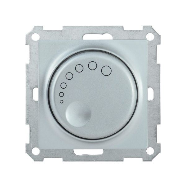Светорегулятор поворотный с индикацией СС10-1-1-Б 600Вт BOLERO серебряный IEK