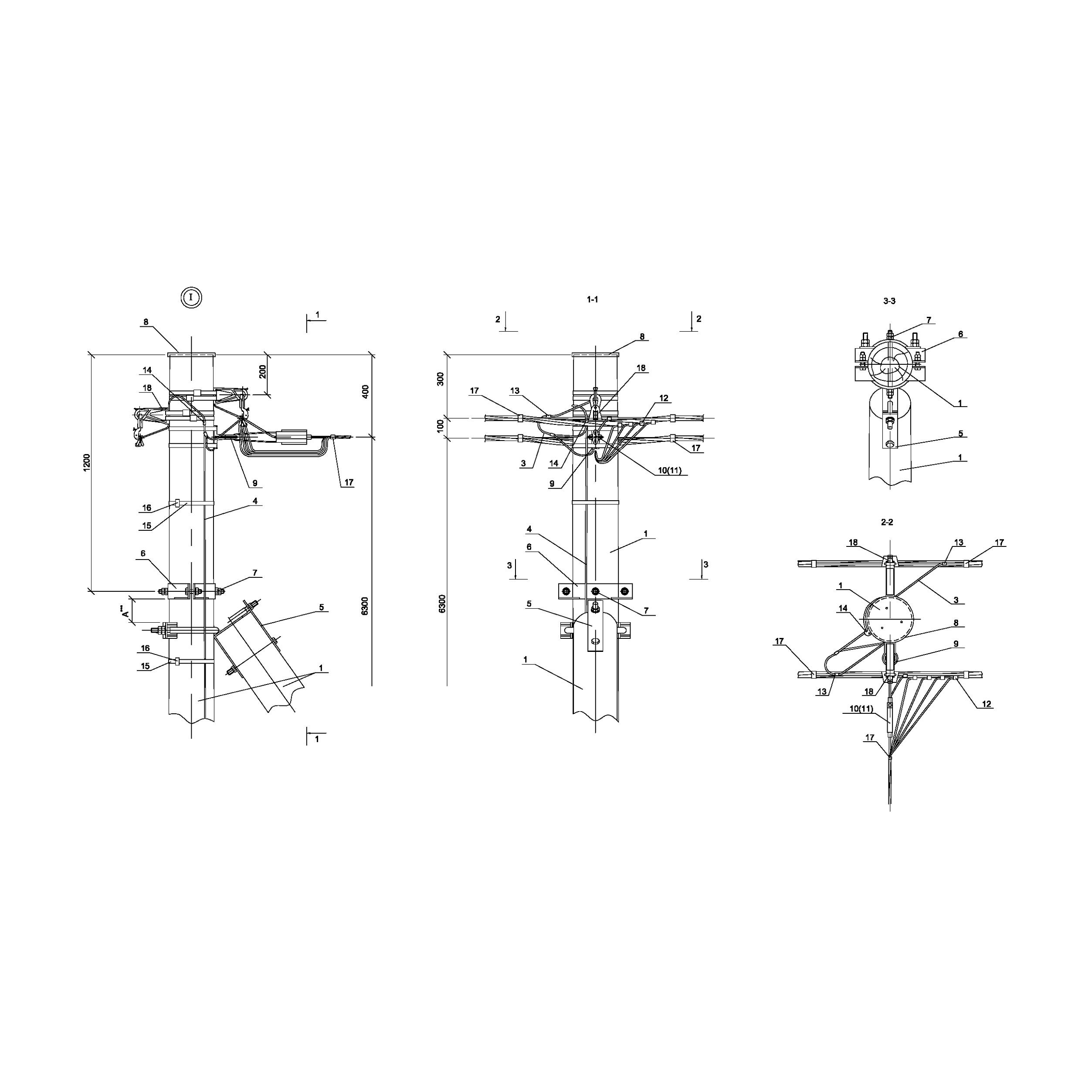 Опора ОАд161 деревянная анкерная ответвительная двухцепная IEK