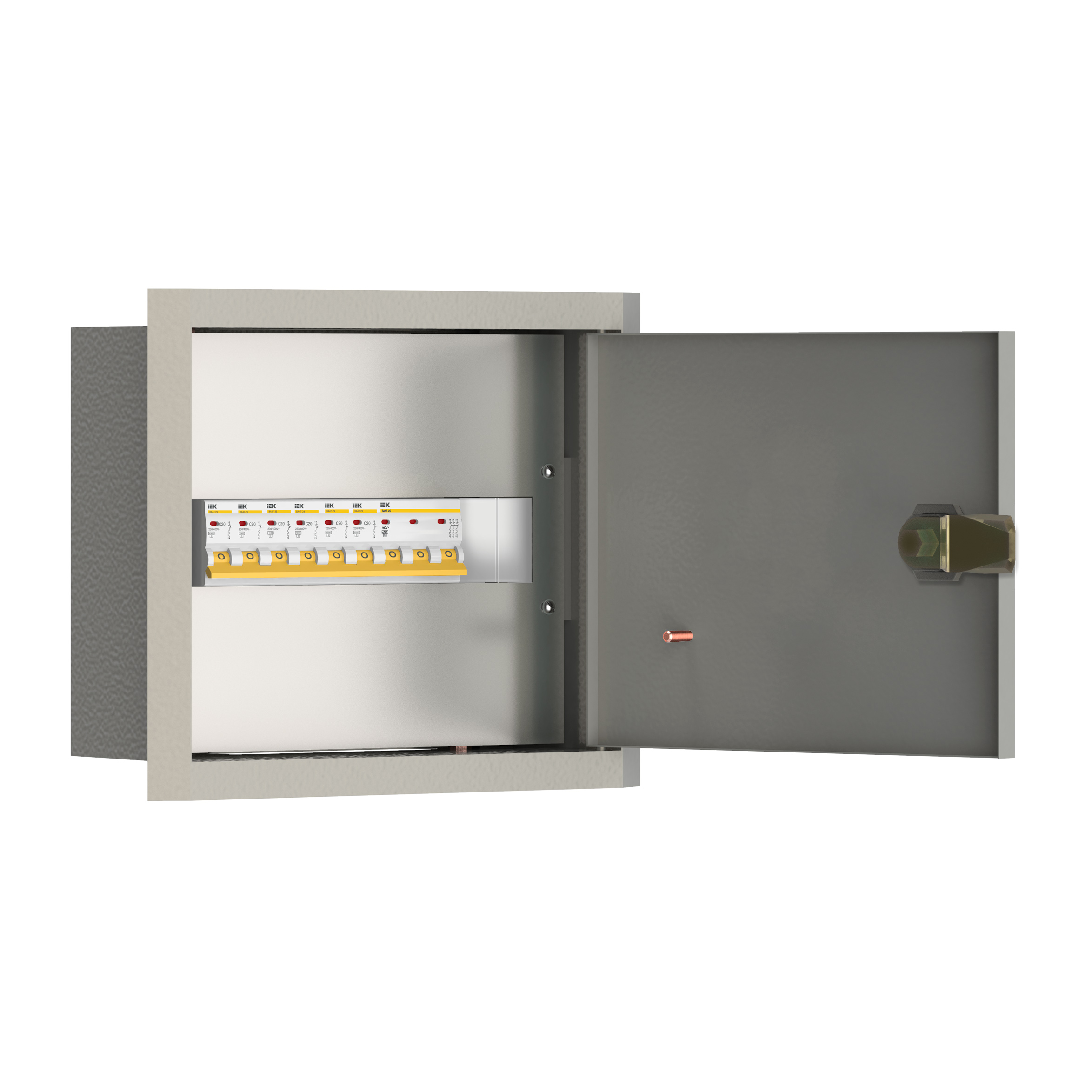 Щиток осветительный УОЩВ утопленный с автоматическими выключателями 3p 1х63А 1p 12х25А IEK
