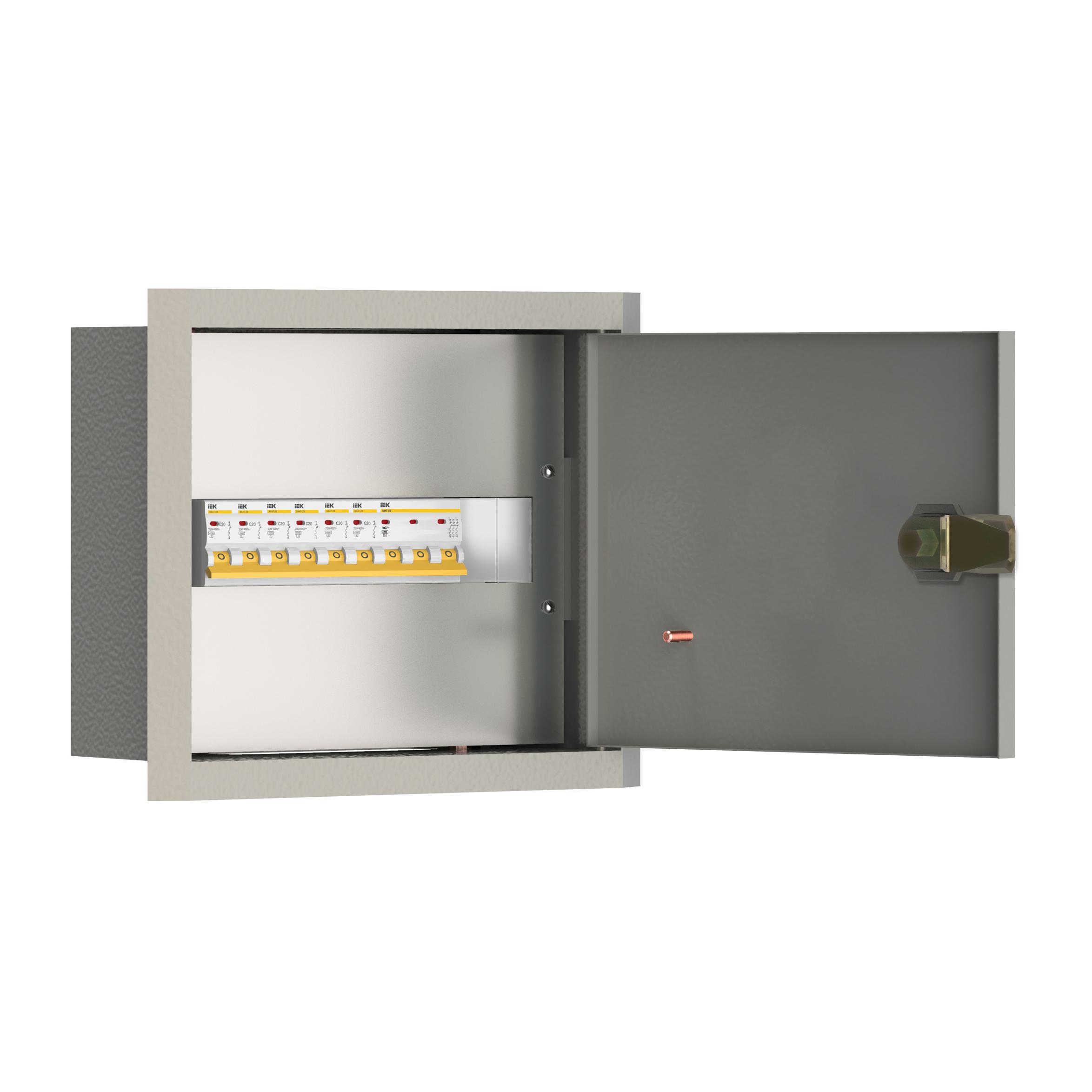 Щиток осветительный УОЩВ утопленный с автоматическими выключателями 3p 1х63А 1p 6х25А IEK
