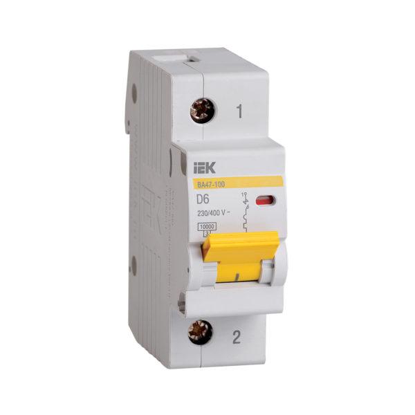 Выключатель автоматический ВА47-100 1P 6А 10кА D IEK