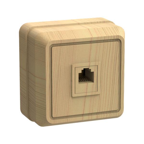 Розетка 1-местная для открытой установки телефонная РТ20-ОС ОКТАВА сосна IEK