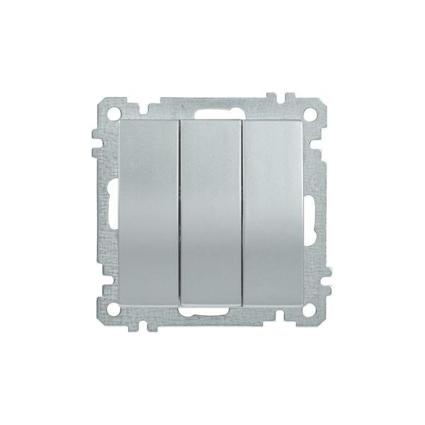 Выключатель 3-клавишный ВС10-3-0-Б 10А BOLERO серебряный IEK