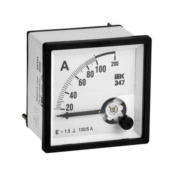 Амперметр аналоговый Э47 100/5А класс точности 1,5 72х72мм IEK