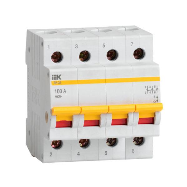 Выключатель нагрузки (мини-рубильник) ВН-32 4Р 100А IEK