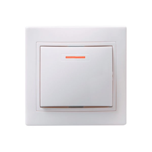 Выключатель 1-клавишный с индикацией ВС10-1-1-КБ 10А КВАРТА белый IEK