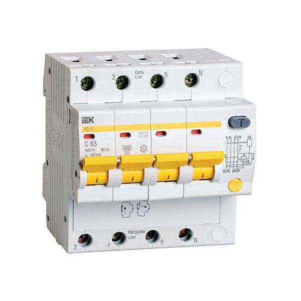 Дифференциальный автоматический выключатель АД14 4Р 63А 100мА IEK