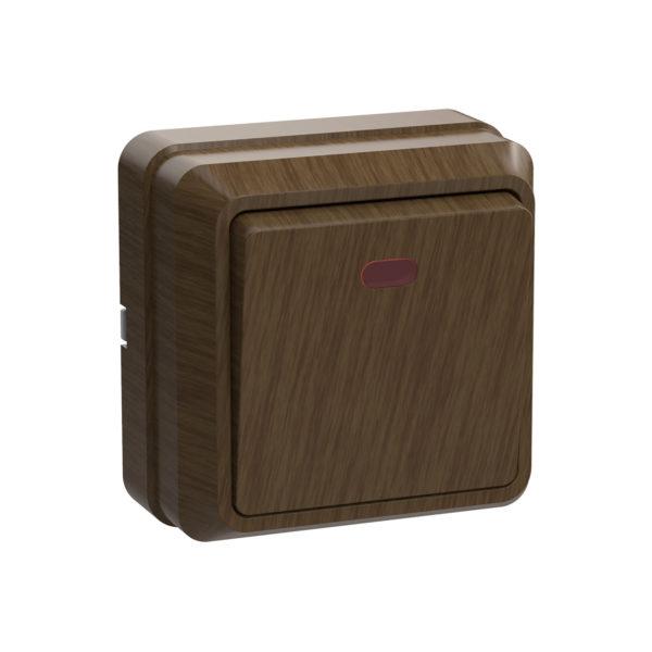 Выключатель 1-клавишный для открытой установки с индикацией ВС20-1-1-ОД 10А ОКТАВА дуб IEK