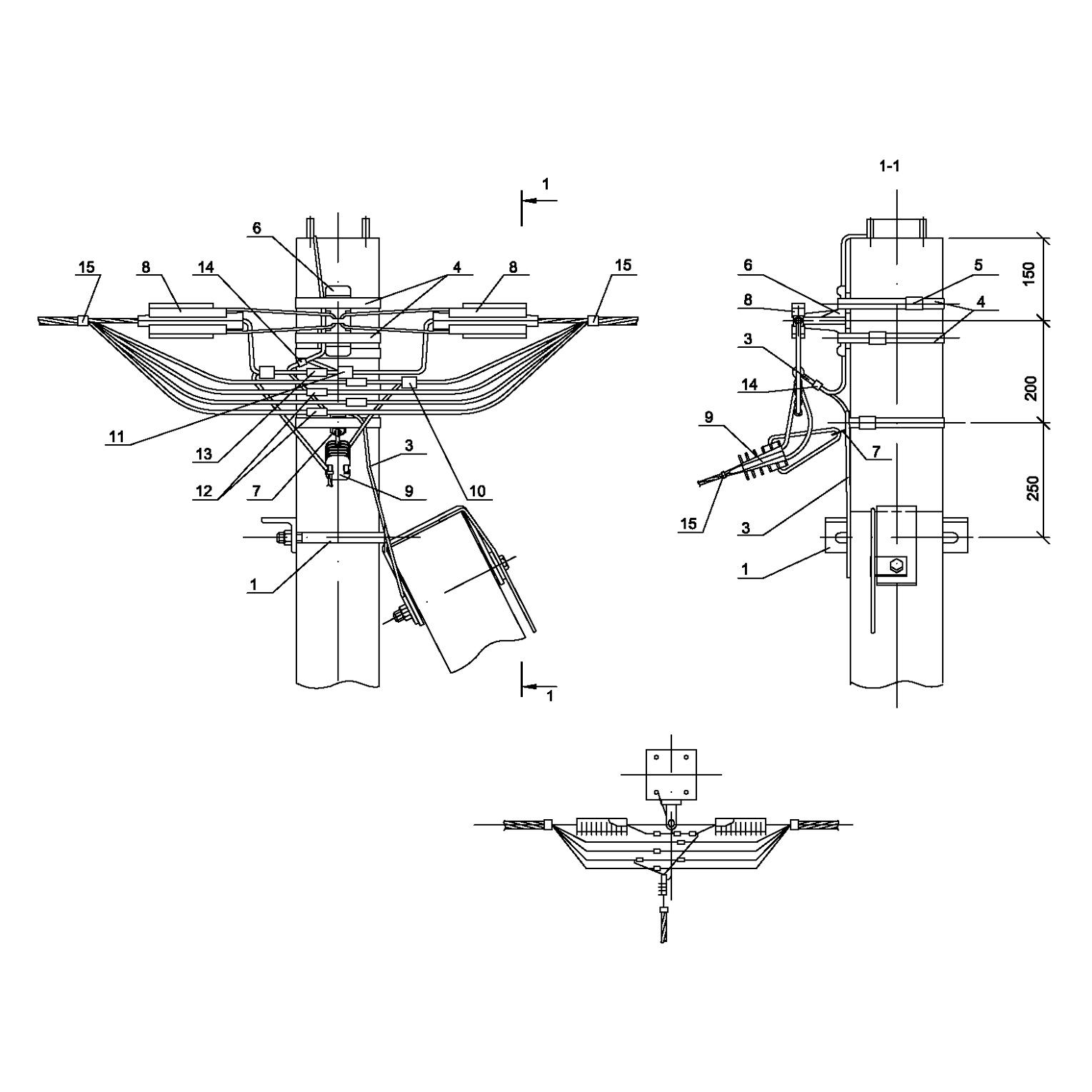 Опора А33 ж/б анкерная концевая одноцепная с ответвлением в одну сторону СИП4-2 IEK
