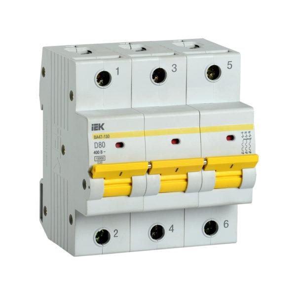 Выключатель автоматический ВА47-150 3Р 80А 15кА D IEK