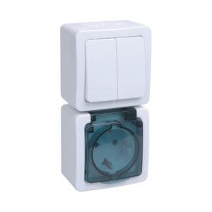 Блок вертикальный для открытой установки БВб-22-32-ГПБд (Выключатель 2-клавишный + розетка 1-местная с заземляющим контактом) IP54 ГЕРМЕС PLUS (белый/дымчатый) IEK