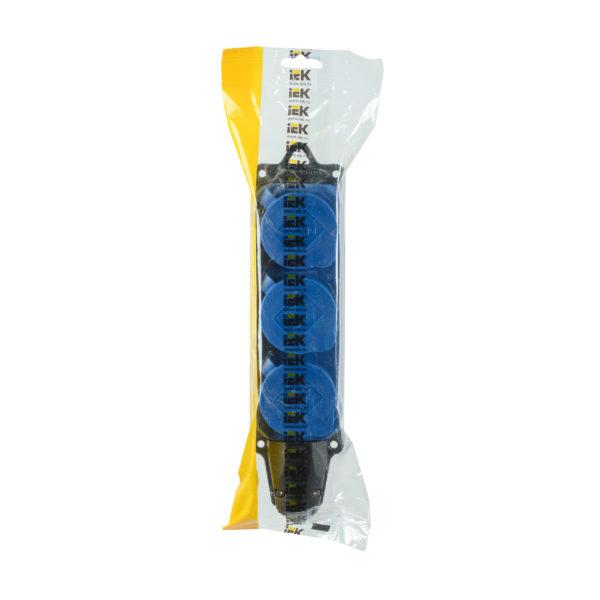 Розетка (колодка) 3-местная РБ33-1-0м с защитными крышками IP44 ОМЕГА синяя IEK