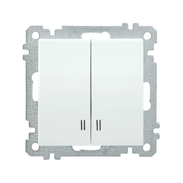 Выключатель 2-клавишный с индикацией ВС10-2-1-Б 10А BOLERO белый IEK
