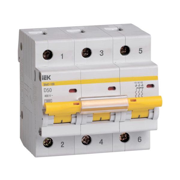 Выключатель автоматический ВА47-100 3Р 50А 10кА D IEK
