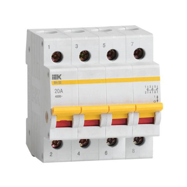 Выключатель нагрузки (мини-рубильник) ВН-32 4Р 20А IEK