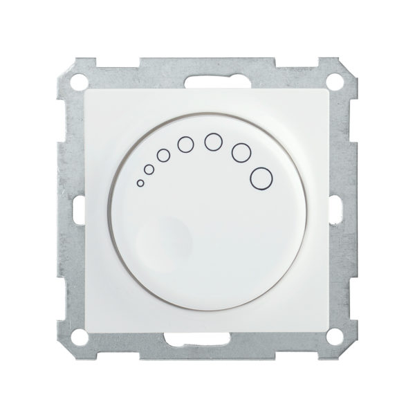 Светорегулятор поворотный с индикацией СС10-1-1-Б 600Вт BOLERO белый IEK