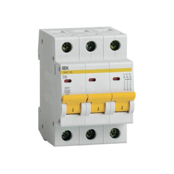 Выключатель автоматический ВА47-29 3Р 6А 4,5кА D IEK