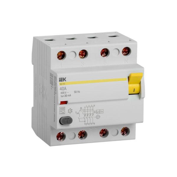 Выключатель дифференциальный (УЗО) ВД1-63 4Р 40А 30мА тип А IEK