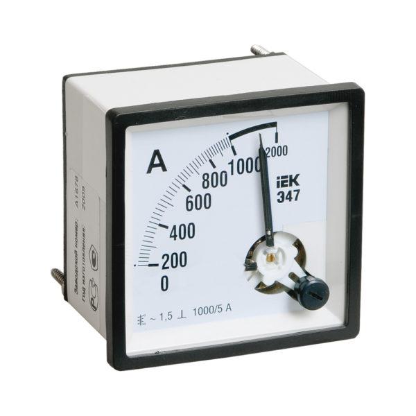 Амперметр аналоговый Э47 2000/5А класс точности 1,5 72х72мм IEK